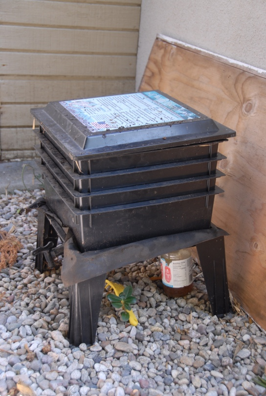 Multi-tiered worm bin.