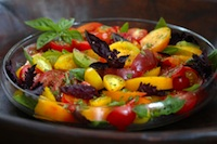 Post image for Organic Heirloom Tomato and Red Ruffle Basil Salad